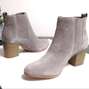 INC International Concepts Shoes - Suede Leather Stacked Heel Pull On Ankle Boots